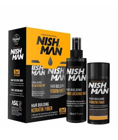 Nishman-Hair Building Keratin Fiber MEDIUM BROWN Zestaw Kosmetyków Koloryzujących i Maskujących Łysienie